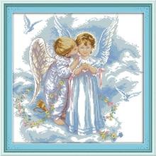 Kits de point de croix chinois Joy dimande des anges   Décoration de mariage en bricolage, en coton écologique clair estampillé, décoration de mariage pour maison