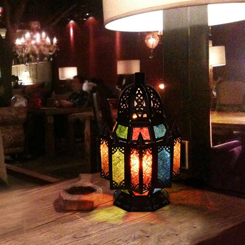 Lámpara de escritorio para cafetería, lámparas de mesa retro, lámpara romántica de estilo europeo, lámpara de estilo marroquí, Turquía, Sudeste Asiático, tailandés, LU71359
