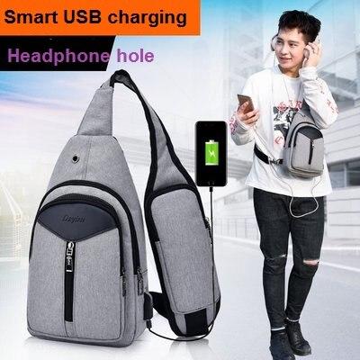 Рюкзак мужской, на одно плечо, с usb-зарядкой
