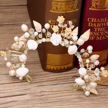 Étoile de mer perle conque coquilles mariée bijoux mariage studio couronne coiffure mariage cheveux accessoires