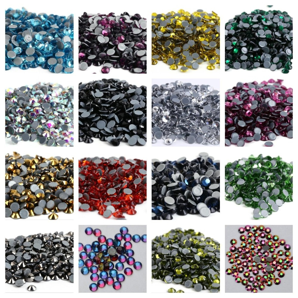 Multi-Color SS6-SS30 Crystal AB Glass Glitter Rhinestone Flatback Hot fix Rhinestones For Nail Art Sewing & Fabric Decoretion