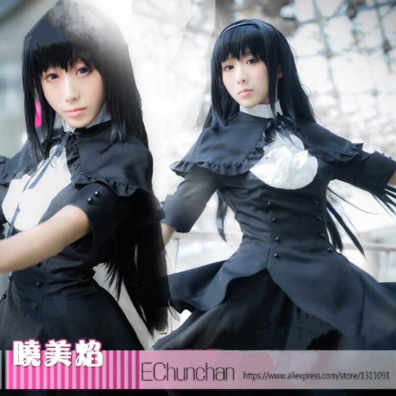 Puella Magi Madoka Magica Homura Akemi, vestido negro, disfraz Cosplay