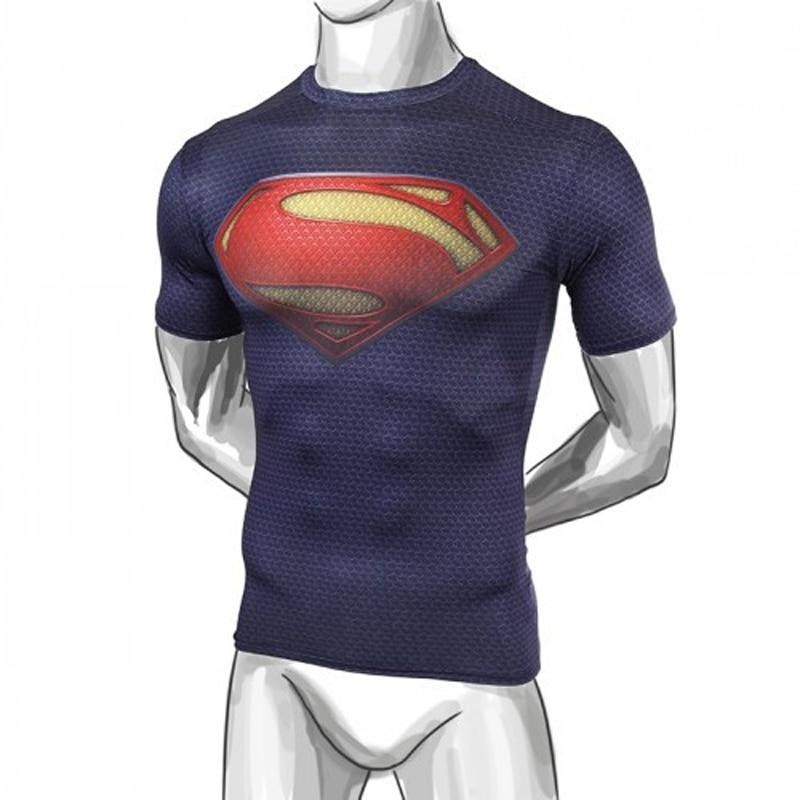 Supple ice sense hombres acero bestia camiseta de compresión superman/batman/tren camiseta fit apretado camisetas