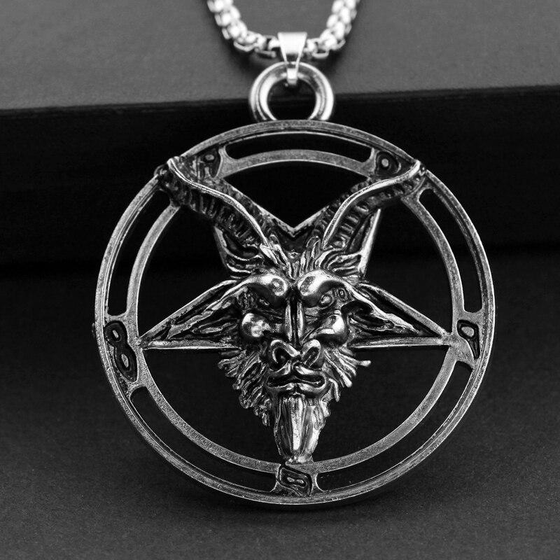 Pentagrama invertido Baphomet cabeza de cabra collar Vintage Baphomet LaVeyan LaVey satanismo ocultismo collares de Metal colgante para hombres