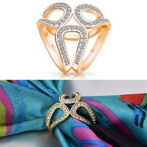 Винтажные Броши золотого цвета, шелковая Пряжка для шарфа, полые Цветочные Стразы, броши, ювелирные изделия, модные женские булавки, аксессуары