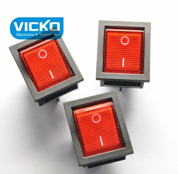 [كيه] أحمر نوع السفينة التبديل kcd4-201 4 وعاء 2 الملفات مع مصباح تصبح مشوه لوحة 16a/250 فولت الطاقة التبديل