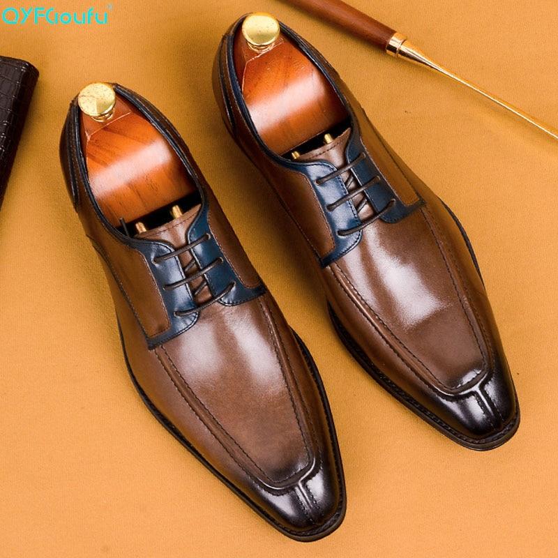 QYFCIOUFU 2019 Zapatos de vestir para hombres de cuero genuino negro italiano de moda Zapatillas de negocios Oxford Classic Luxury Designer Shoes US 11,5