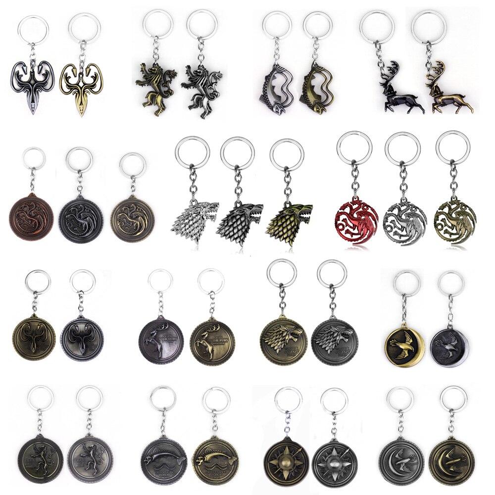 Брелок для ключей RJ Game of Thrones House Stark, подвески с волком, брелок для ключей с песней Льда и Огня, брелок для ключей с драконом таргариеном, подарок