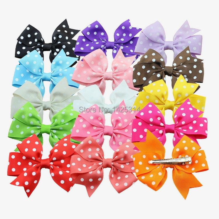 30Pcs/lot. 3''  Boutique Grosgrain Dot Ribbon Hair Bows With Hair Clips Baby Girls Bowknot Hairpins Children Hair Accessories