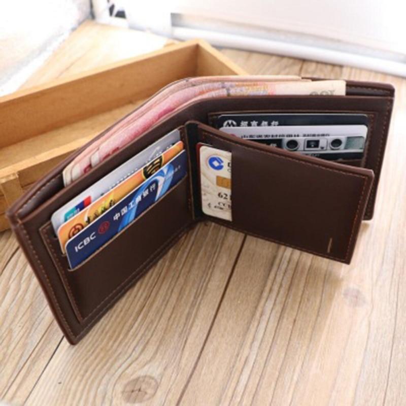 THINKTHENDO Fashion Men's Short Leather Wallet ID Credit Card Holder Billfold Purse Clutch Male Mini