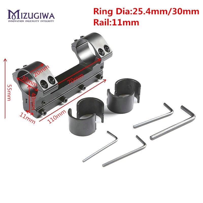 "MIZUGIWA крепление для прицела 25,4 мм/30 мм двойное кольцо один кусок винтовка Picatiiny адаптер ""ласточкин хвост"" 11 мм Вивер рейку пистолет страйкбол"