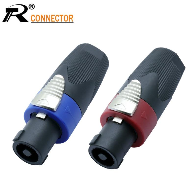 12 stücke Lautsprecher Powercon stecker NL4FX Speakon 4 Pol Stecker Männlichen Berufs audio power stecker Rot & Blau