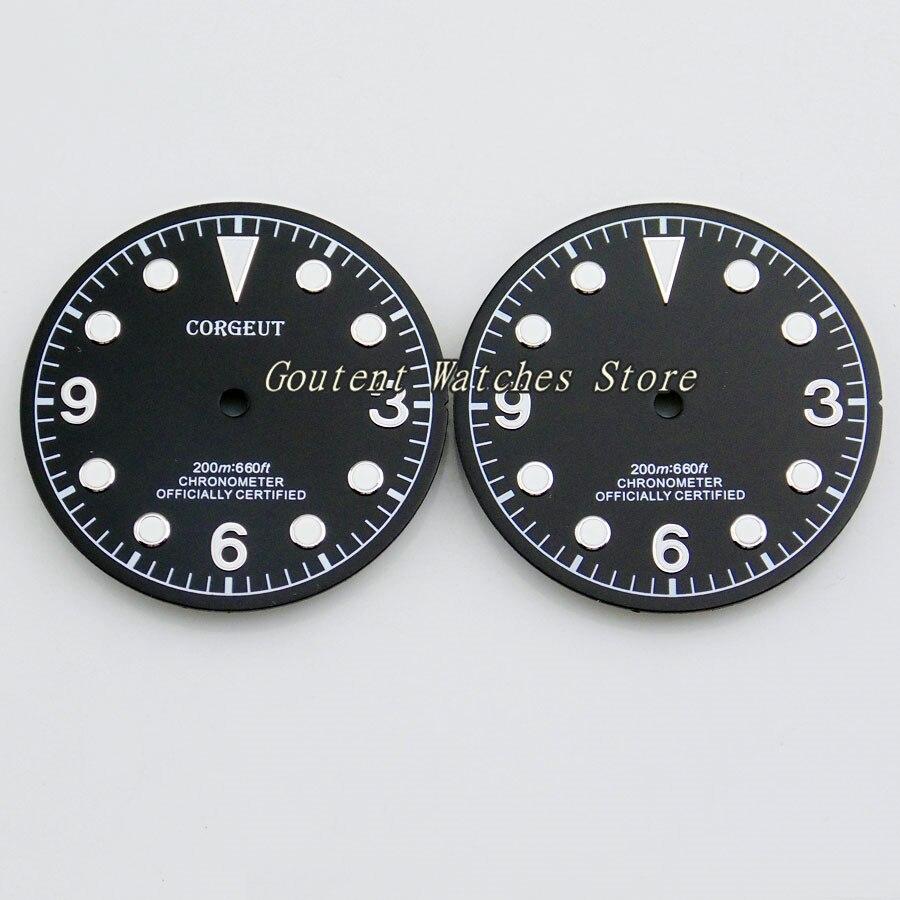 30.5mm Corgeut Mostrador do Relógio Preto Ajuste ETA 2836, Miyota 8205/8215, Mingzhu DG2813/3804 Faces relógio de Pulso