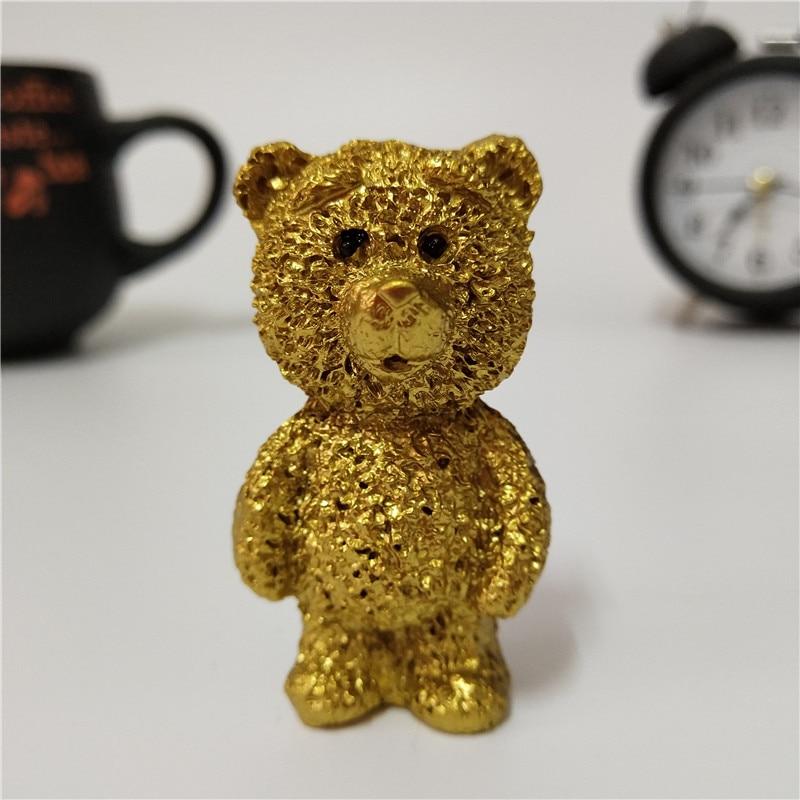 Estatua de perro de Oso de Oro, escultura de resina, artesanías de decoración para el hogar, decoración para la habitación de los niños, figuritas de decoración de escritorio, regalos