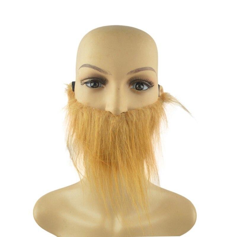 Falso bigote para hombres adultos barba marrón de Halloween barba bigote fiesta Cosplay accesorios de disfraces suministros