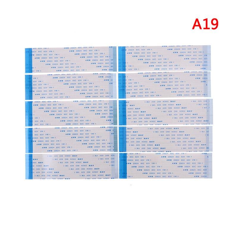 10 Uds cinta FPC Flexible Flat CABLE paso 0,5 MM 100MM 4P 6P 8P 10P 12P 16P 20P 30P 40 P FFC alambre 6/10/12/16/20/30/40 pin