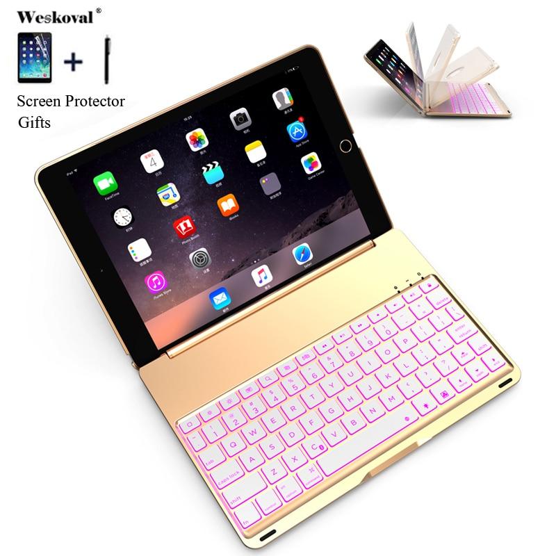 Para iPad aire 1 A1474 A1475 colorido Fondo carcasa de teclado Bluetooth inalámbrico iPad aire caso de iPad 1 soporte de aleación de aluminio Fundas