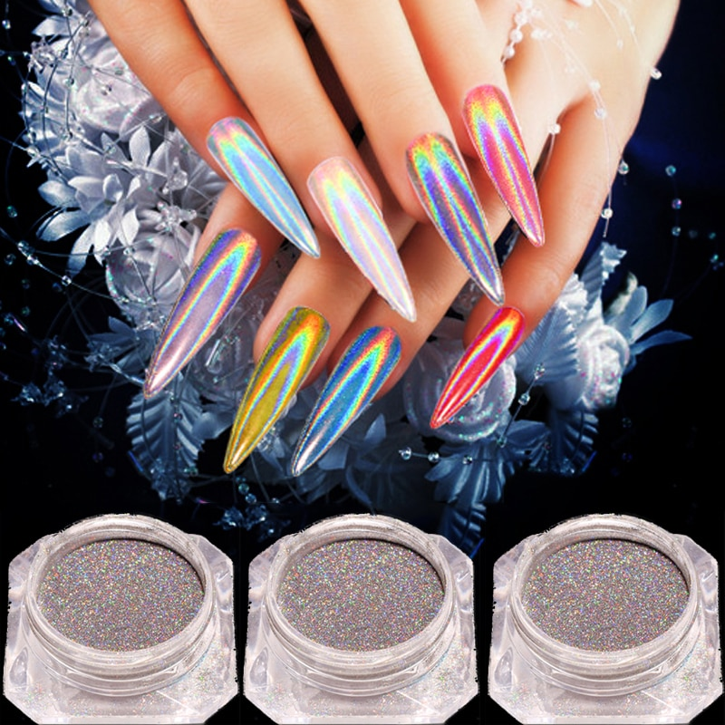 Láser 0,2g Arco Iris brillante Espejo, uñas con purpurina polvo perfecto holográfica uñas polvo láser holográfico de uñas pigmento de Decorati