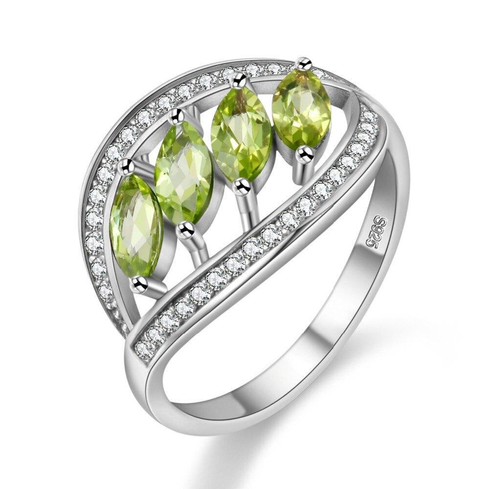 Almei peridoto verde Natural Plata de Ley 925 deja anillos para mujeres anillo con piedra boda joyería caja de terciopelo de regalo FJ110