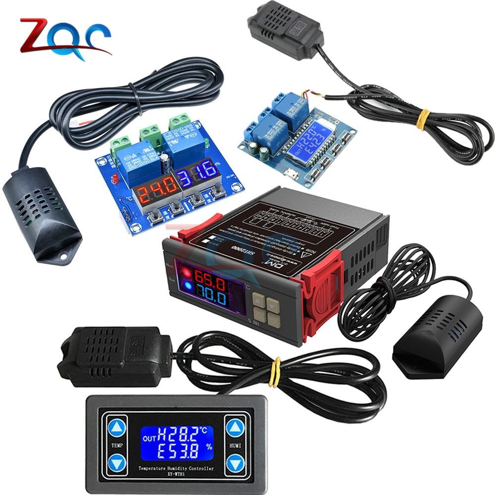DC 12V AC 110V 220V LED/LCD цифровой измеритель температуры и влажности Термостат Термометр гигрометр с подогревом
