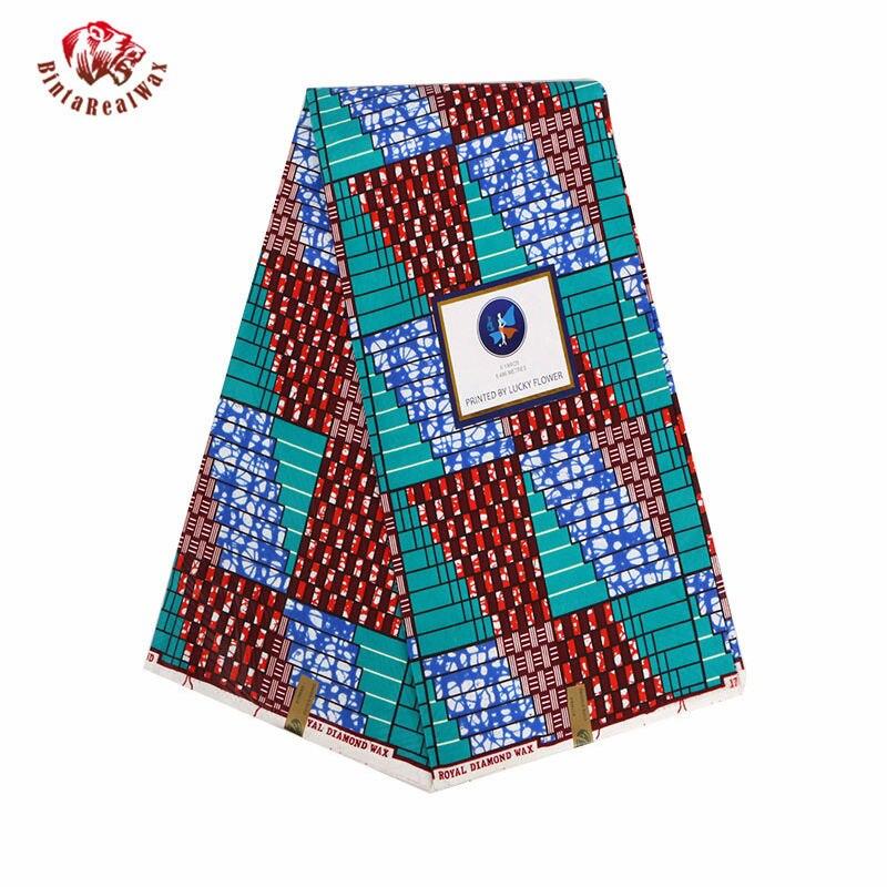 Tela estampada de con cera y poliéster africano de Ankara, cera de tinta roja Real de alta calidad, tela africana de 6 yardas para vestido de fiesta PL933