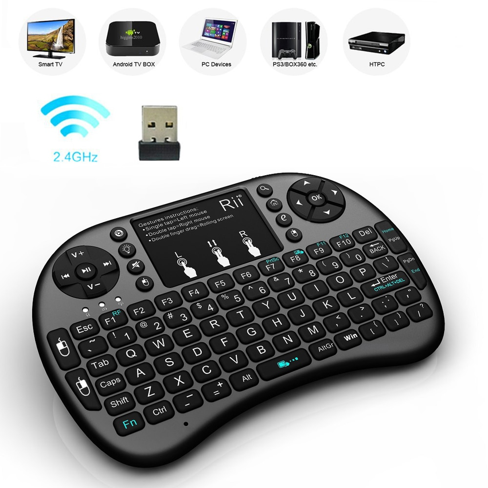 Rii mini i8 + mini 2.4 ghz sem fio backlight teclado jogos com touchpad para google android smart tv caixa iptv htpc ps3 almofada
