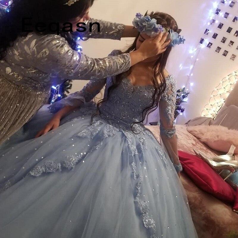Charming Quinceanera Kleider Ballkleid Langarm Spitze Tüll Prom Debütantin Sechzehn 15 Süße 16 Kleid vestidos de 15 anos