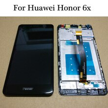 Prueba para Huawei Honor 6X BLN-L24 BLN-AL10 BLN-L21 BLN-L22 pantalla LCD + pantalla táctil digitalizador con marco de oro/blanca/negra Blanco/negro