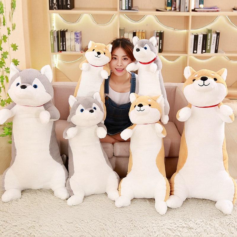 60-100cm Cute Corgi Dog Plush Toys Soft Kawaii Animal Cartoon Dog Stuffed Plush Sofa Pillow Lovely Christmas Presents for Kids