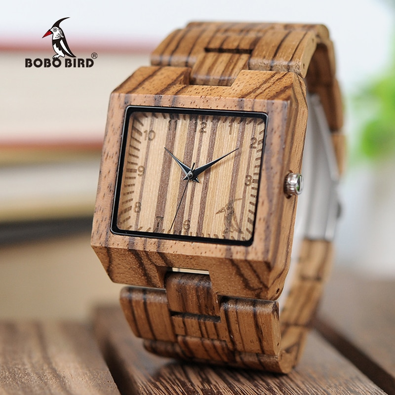 BOBO BIRD L-L24, элегантные японские кварцевые мужские часы с зеброй, деревянные часы с квадратным скелетом, мужские часы