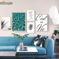 nordic modern simple quote gray plant green sea home decoration painting posters canvas prints art wall picture for living room