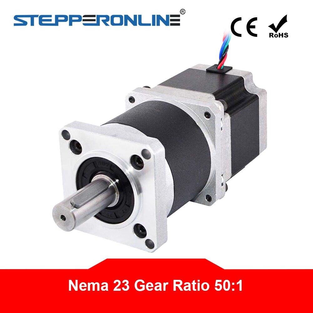 Nema 23 محرك متدرج L = 56 مللي متر نسبة التروس 50: 1 عالية الدقة الكواكب علبة التروس 4-lead 2.8A الطارد موتور تروس