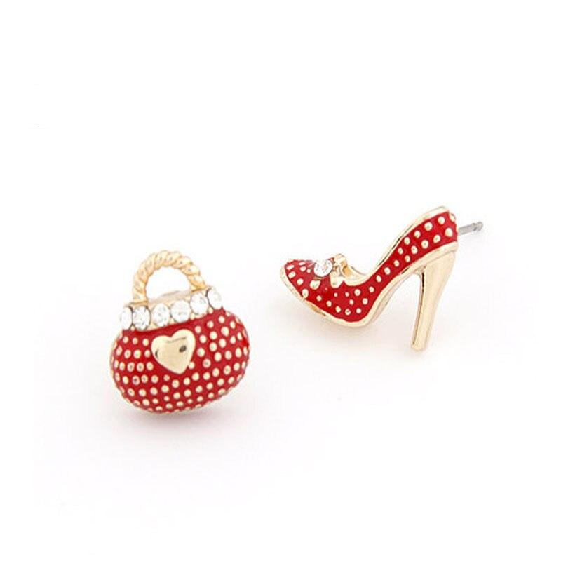 OL Sweet personalidad zapatos de tacón alto bolsa aretes de sillín asimétricos para las mujeres de moda Linda joyería de moda ED016