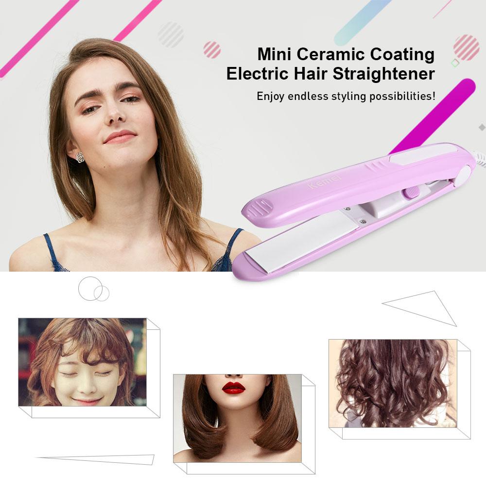 Kemei KM-مكواة شعر كهربائية صغيرة مطلية بالسيراميك ، مكواة مسطحة مع شاشة LCD ، لشعر مستقيم alipearl ، 331