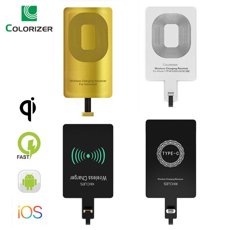 Qi receptor de carregamento sem fio para iphone 7 6s plus 5S micro usb tipo c universal carregador sem fio rápido para samsung huawei xiaomi