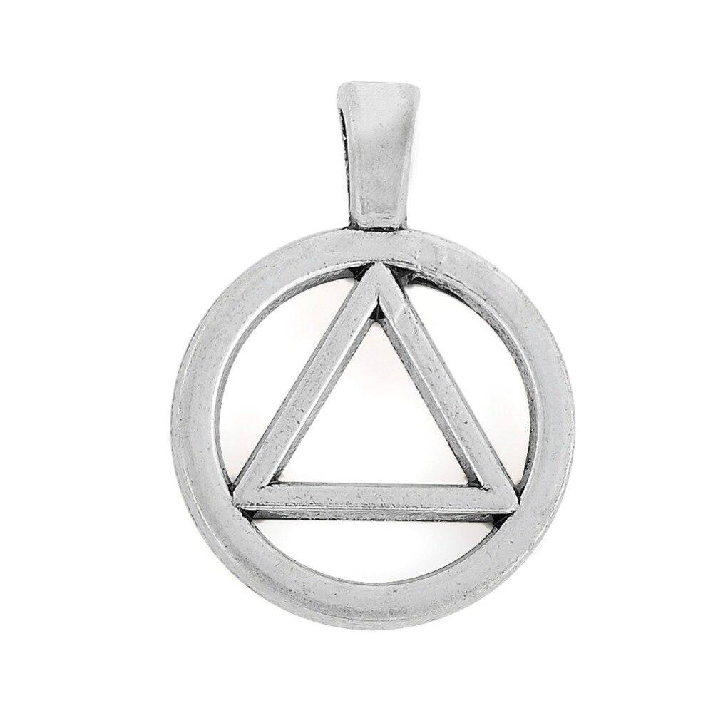 EUEAVAN 20 sztuk metalowe trójkąt w koło urok wisiorek dla tworzenia biżuterii Fit naszyjnik bransoletka brelok do kluczy