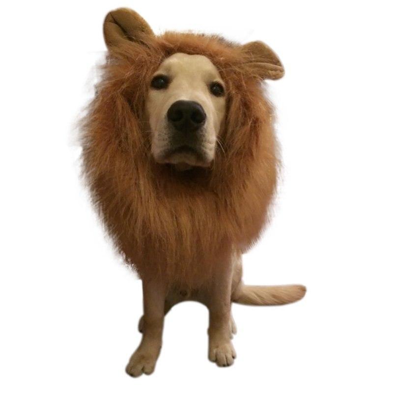 Костюм для ролевых игр на Хэллоуин, костюм для собаки, Льва, парики грива с ушами, аксессуары для волос, аксессуары для волос, Лев, фестиваль, вечеринка, Хэллоуин, Костю