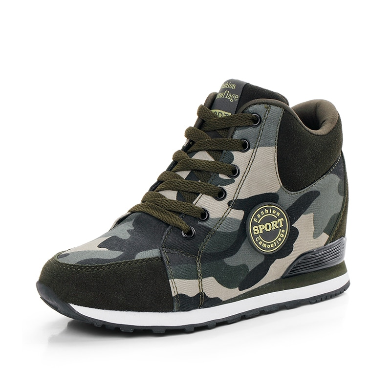 Zapatillas de camuflaje para correr de 6cm con plataforma de elevación oculta para mujer, zapatillas de tenis para adultos, botas altas deportivas de invierno para mujer