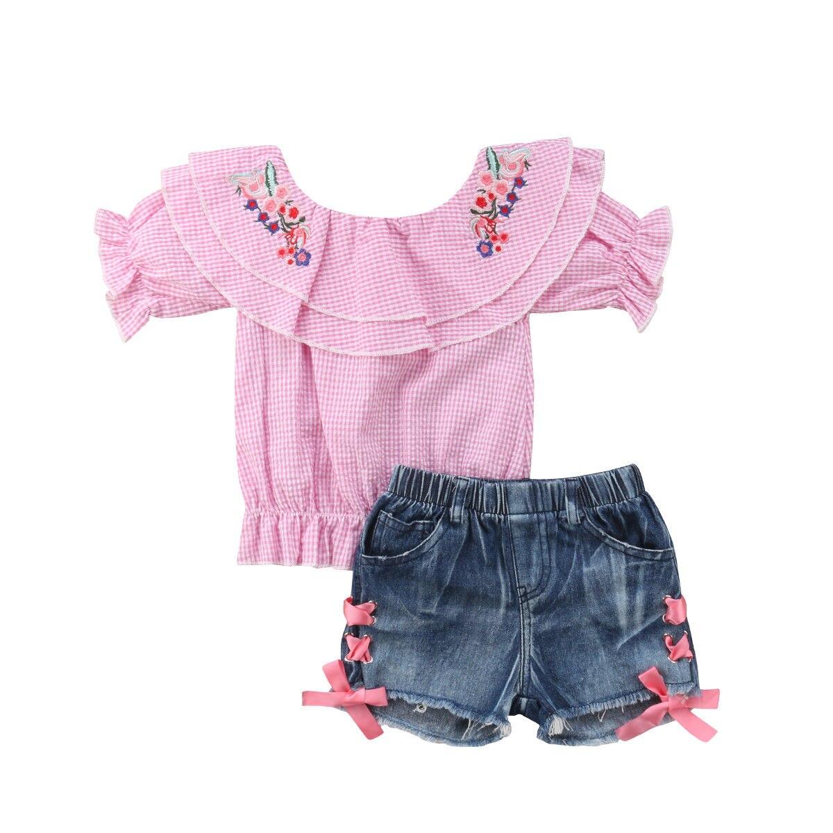 1-6T Little Girls Summer Clothes Sets Kids Girl Lovely Baby Off Shoulder Flower Tops Denim Shorts Outfit