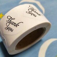 Adesivo decorativo 500 graças você, adesivos casamentos em forma de coração, etiquetas brancas 1 Polegada corações adesivo