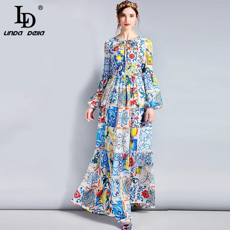 LD LINDA 5XL DELLA Fashion Designer Maxi Vestido Plus Size Manga Longa das Mulheres Boho Colorido Flor Imprimir Casual Longo vestido