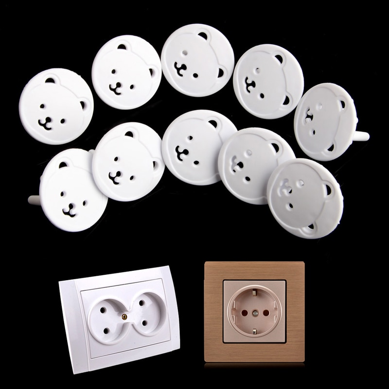 10pcs Bear EU Power Socket Electrical Outlet Baby Kids Child Safety Guard Protection Anti Electric S