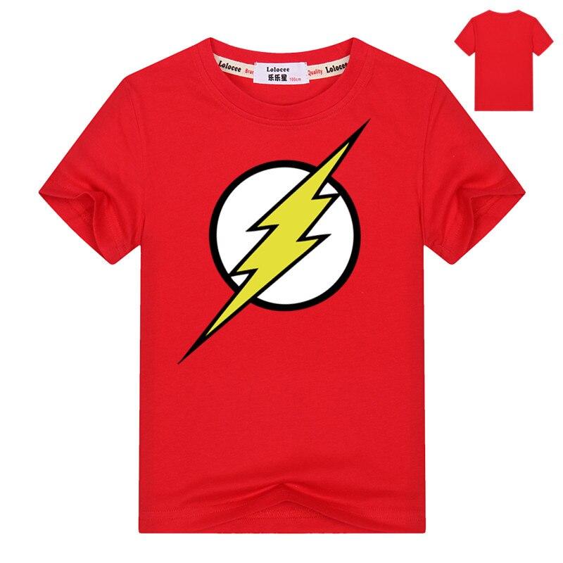 DC Comics Boys el Flash Logo rojo camiseta niños Casual camiseta niños 100% de algodón Superman Batman Hulk ropa dropship