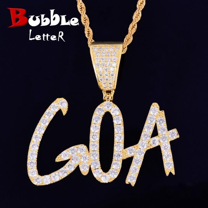 Custom name Necklace for Women Sharp Bubble Letter Pendant Hip Hop Jewelry