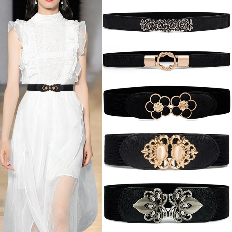 AliExpress - Fashion Elastic cummerbunds black solid Stretch waistband for women dress accessories Adornment waist belt Wide Belts For Female