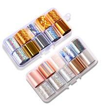 Nail Foil Set Transparent AB Color 2.5*100cm Nail Art Transfer Sticker Manicure DIY Nail Adhesive Decals