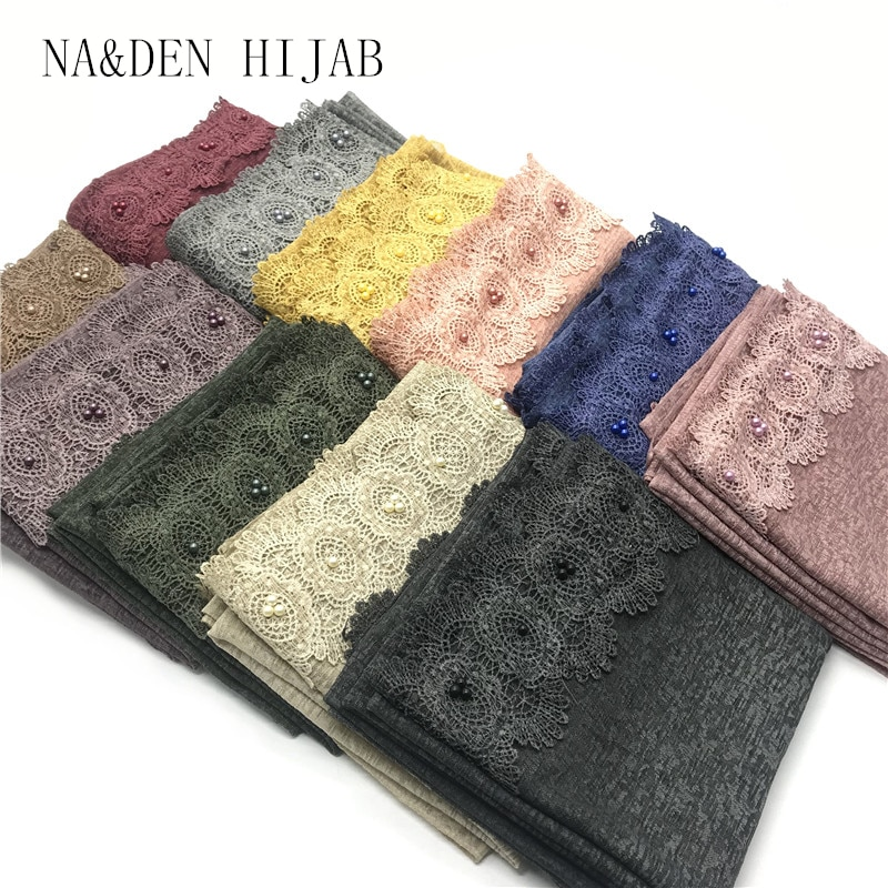 Bufanda de lino de mujer liso soild hijabs un lado de encaje perlas Bordes de viscosa bandanna chales de cabeza musulmana envolturas 10 unids/lote