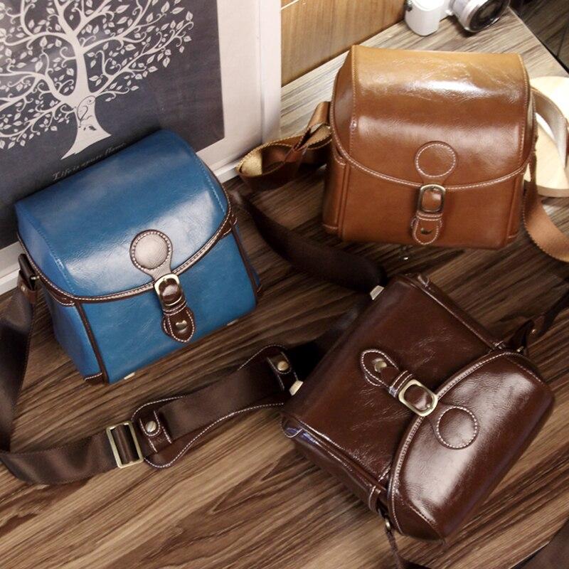 Fashion Vintage PU Leather waterproof SLR cameras case Gadget Bag for Canon 60D for Sony NEX 5R ,Messenger Bag Shoulder Bags