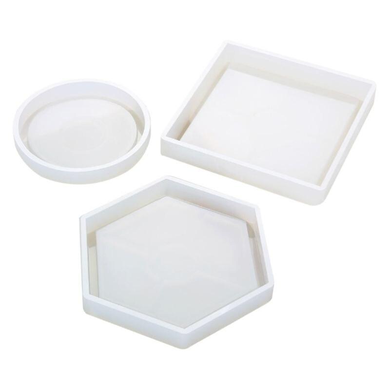 Molde de silicone diy copo esteira almofada moldes artesanais artesanato resina cola epoxy forma geométrica hexagonal quadrado redondo isolamento térmico