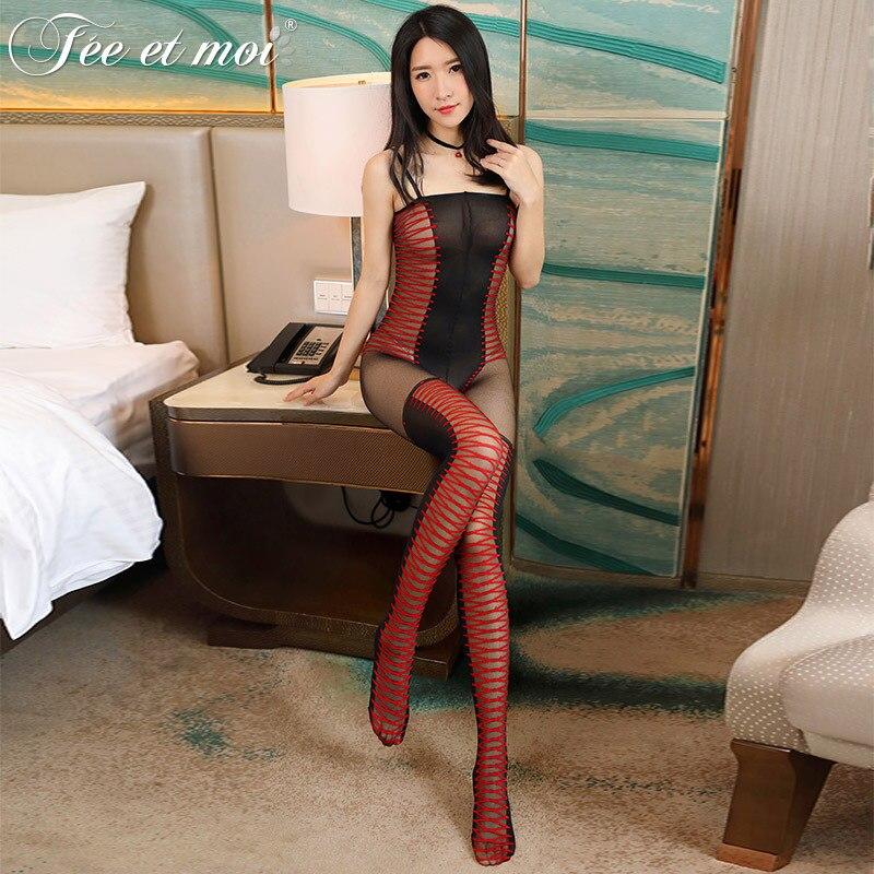 Kaguster-Body sexy con entrepierna abierta, Medias abiertas, Body erótico Sexy, catsuit, sin entrepierna, 2019